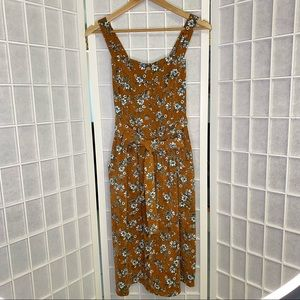 Miss Valley Corduroy Pinafore Dress Floral Sleeveless Button Cottagecore S 8